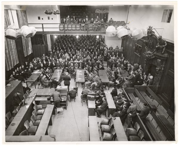 Nuremberg trials courtroom, 1945 or 1946, from the Thomas J. Dodd Papers
