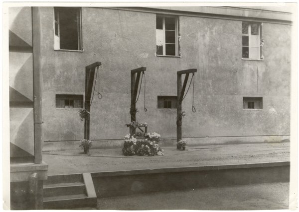 German Gallows at Kounic College in Czechoslovakia, from the Nuremberg Trial materials in the Thomas J. Dodd Papers