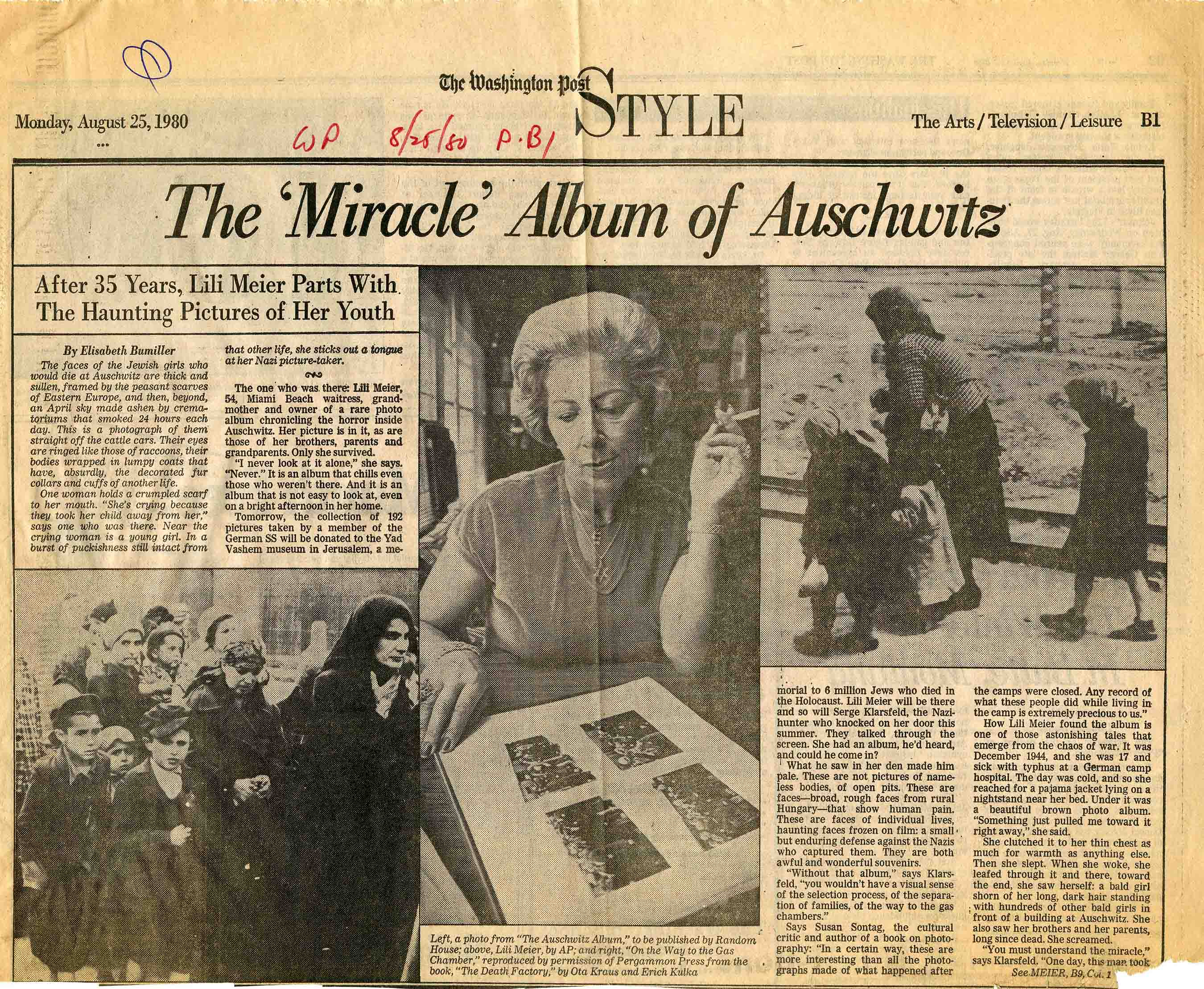 "Page from the August 25, 1980, Washington Post, ""The 'Miracle' Album of Auschwitz"""