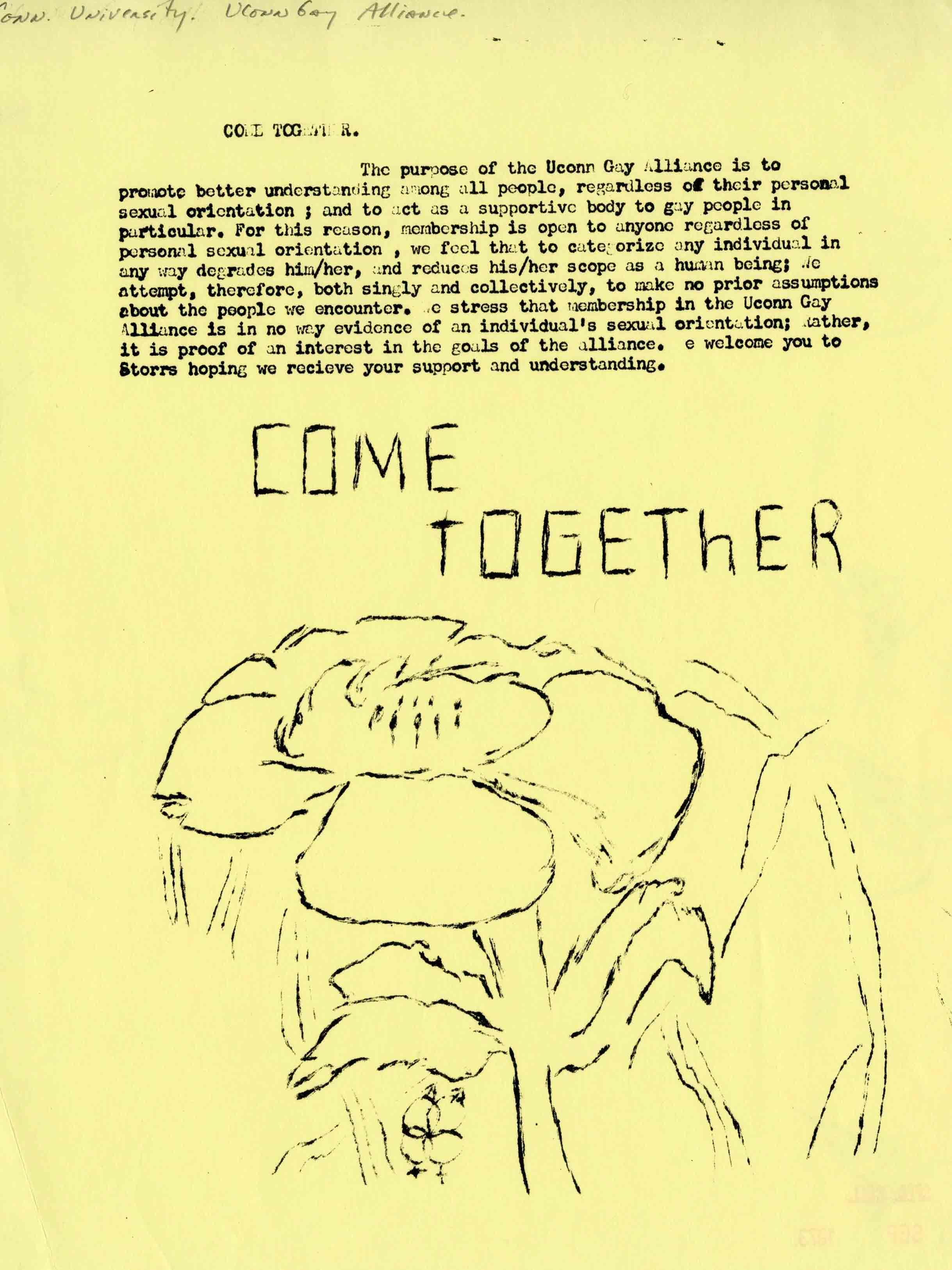-UConn Gay Alliance, Come Together Flyer (September 1973)