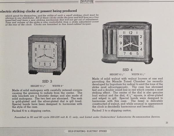 Page from an E. Ingraham Company sales catalog, 1938-1939