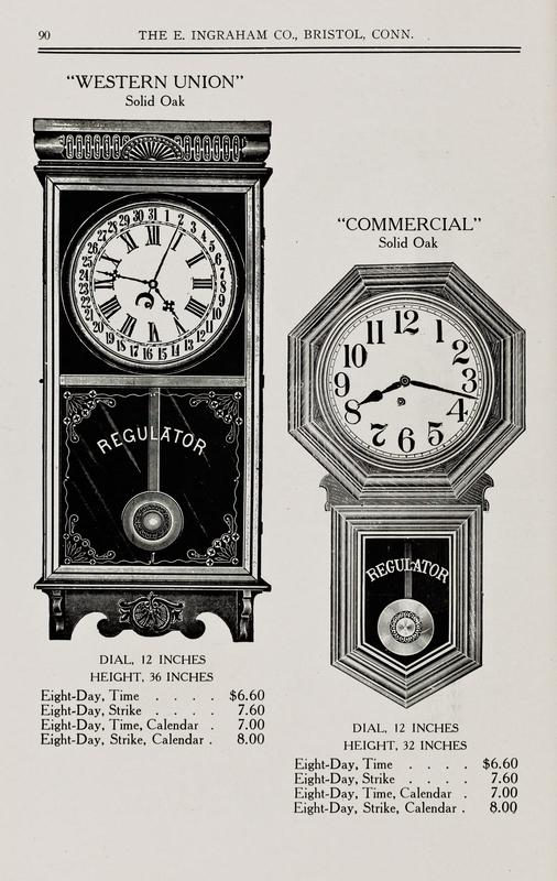 Page from an E. Ingraham Company sales catalog, 1915-1916