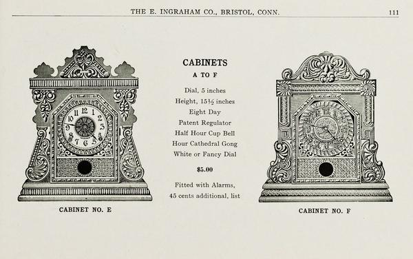 Page from an E. Ingraham Company sales catalog, 1908-1909