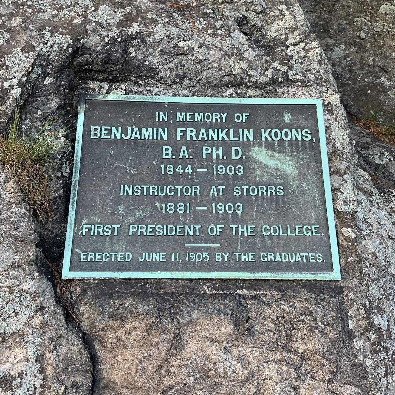 Commemorative plaque for President Benjamin F. Koons