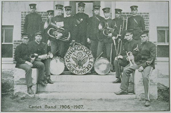 Connecticut Agricultural College Cadet Band, a predecessor to the UConn Marching Band, pictured in 1906