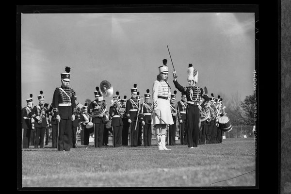 UConn Marching Band plays during or after a football game in 1942