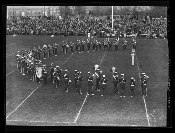 UConn Marching Band plays at a 1950 football game