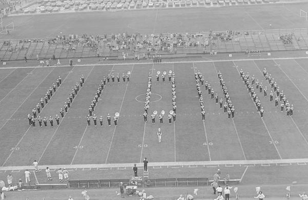 UConn Marching Band plays at a 1968 football game against Maine