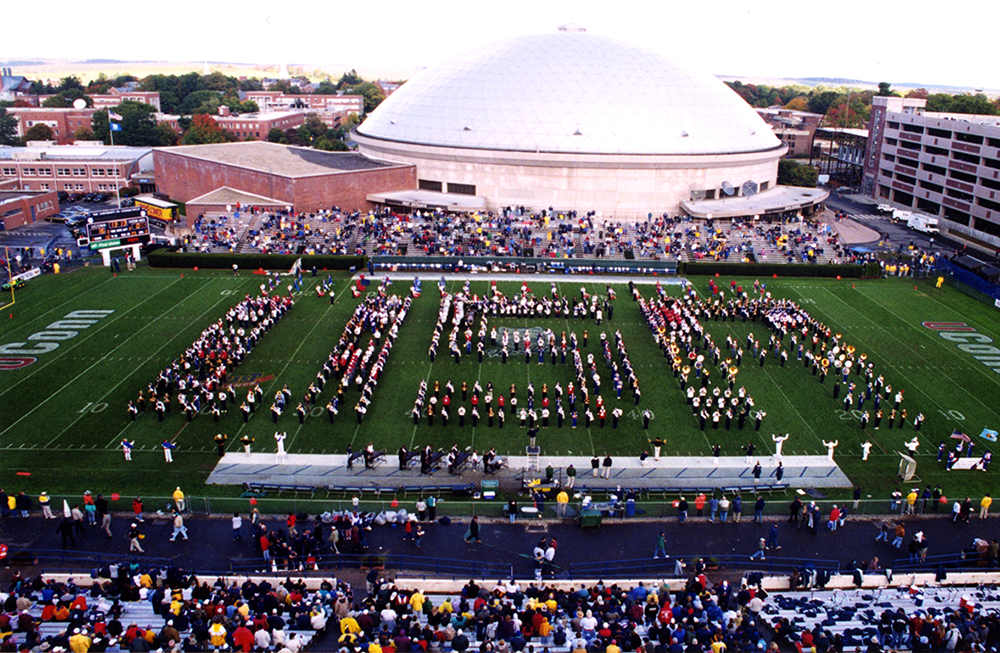 UConn Marching Band arranged in a 'USA' formation at Storrs, circa 2001