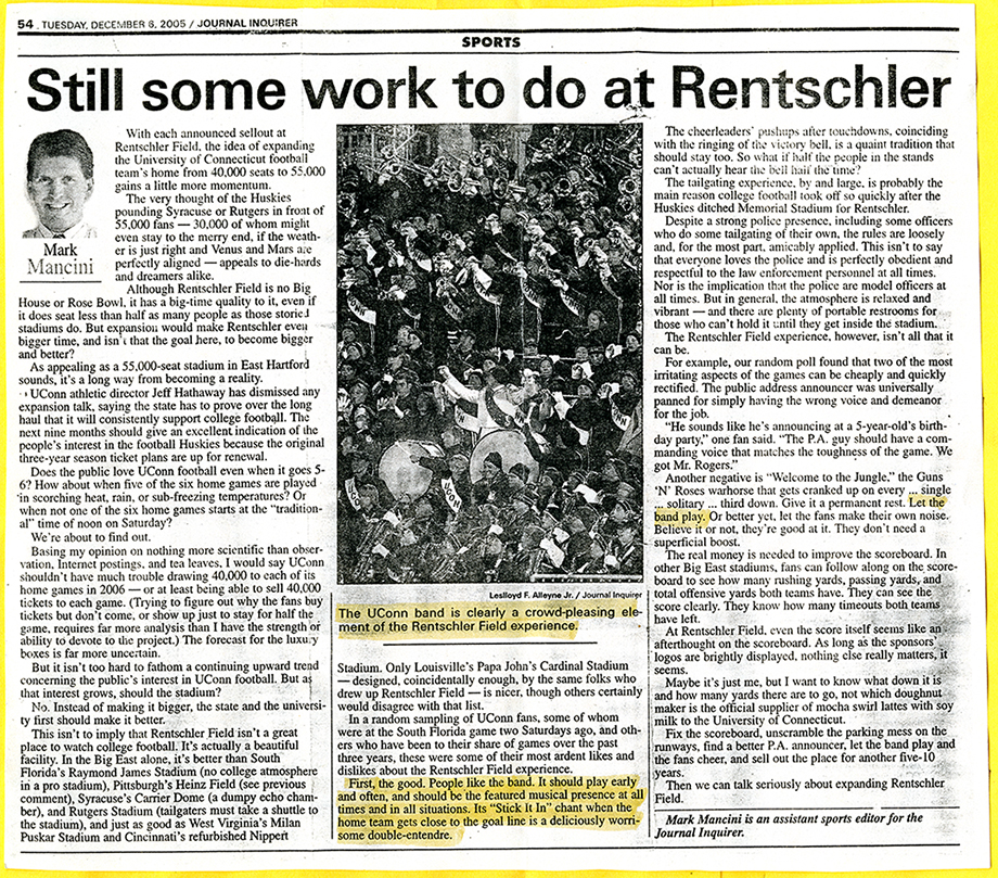 Journal Inquirer sports page from 12/6/05 that mentions the UCMB playing at Rentschler Field
