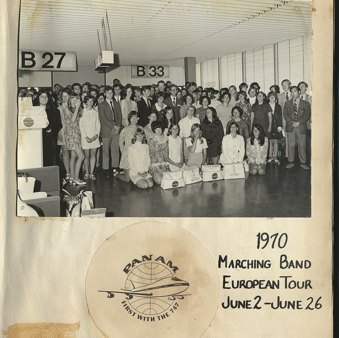 UConn Marching Band at the airport for the 1970 European tour, from the 1970 Scrapbook