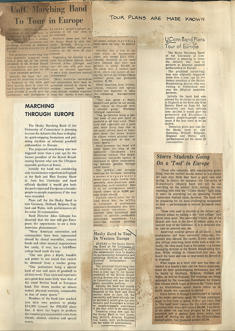 UConn Marching Band 1970 European Tour scrapbook page, with newspaper clippings describing the tour