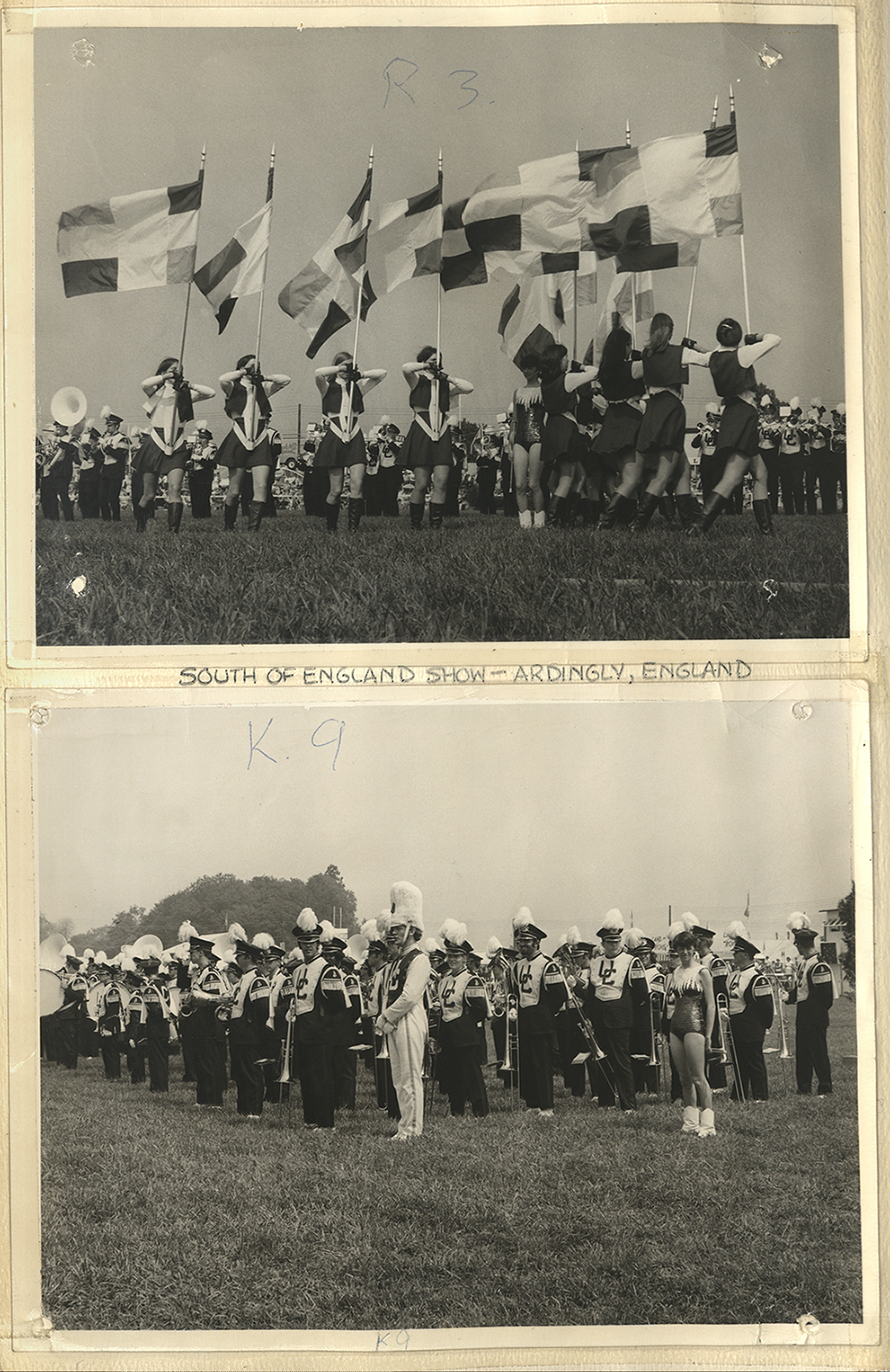 UConn Marching Band 1970 European Tour scrapbook page, with two photos of the 'South of England Show' in Ardingly, England