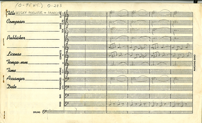 Page 1 of the Arrangement for the Husky Prelude and March, from former UConn Marching Band Director David Maker