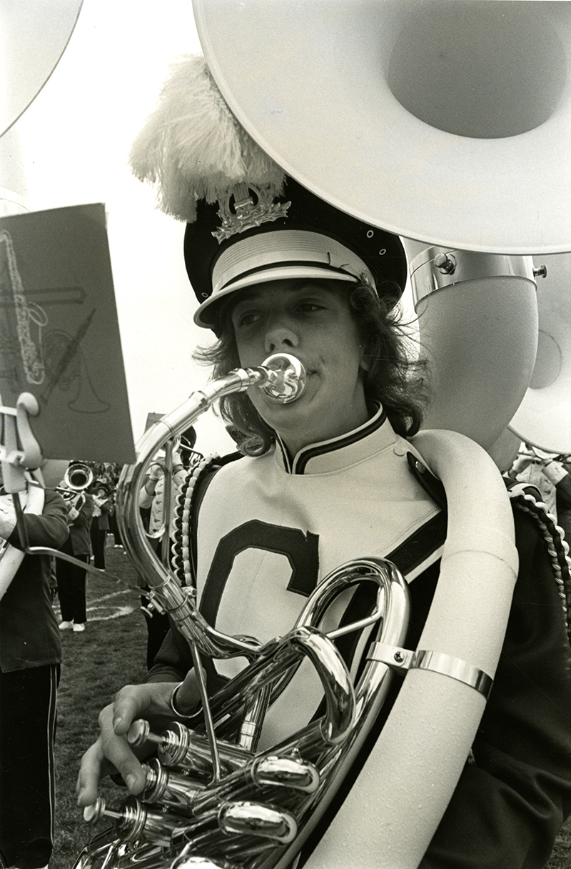 UConn Marching Band member plays the tuba, from the UConn Photo Collection
