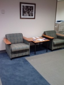 The new carpeting in the Administrative Office Suites.