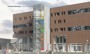 Rendering, Babbidge Library South Plaza Stairwell