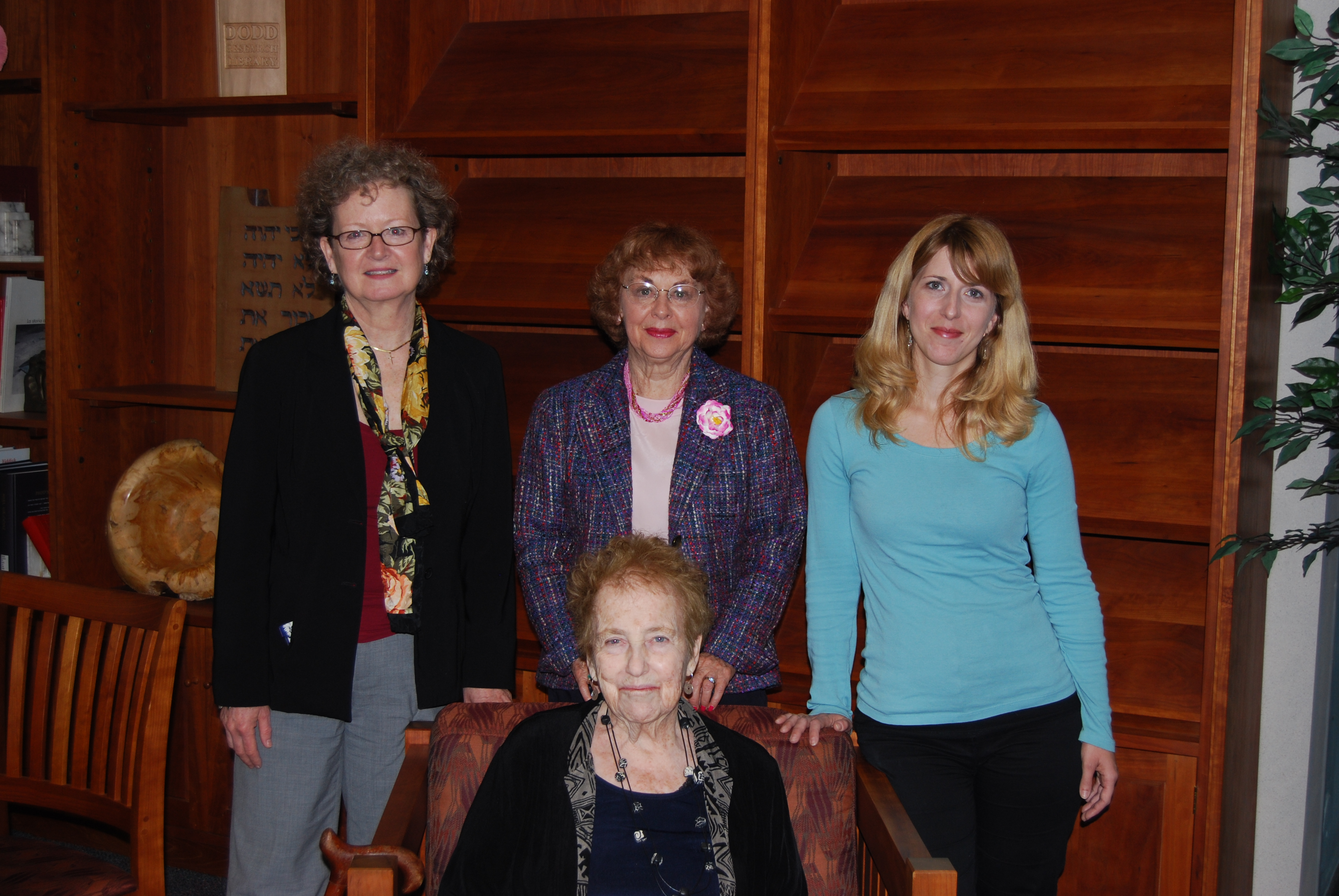 l-r: Terri J. Goldich, Curator; Billie M. Levy, Donor; Kena Sosa, Researcher.  Seated:  Mrs. Eva Greenwood.