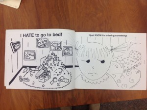 Opening spread of I Hate to Go to Bed!, 2nd dummy in Box 4: Folder 18 of Katie Davis Papers. All rights reserved. No reproduction of any kind allowed.