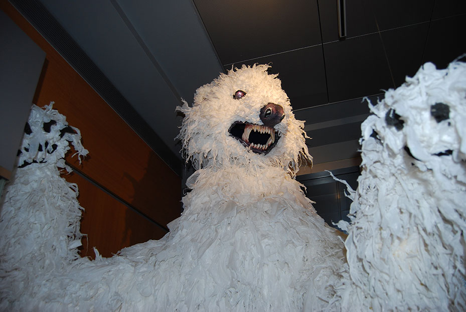 "Ten foot tall bear puppet used in a campus production of  ""The Winter's Tale,"" on display in ""The Play's the Thing: Shakespeare at UConn."