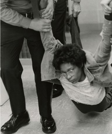 Black student protest in Wilbur Cross Library, from the UConn Archives, April 23, 1974.