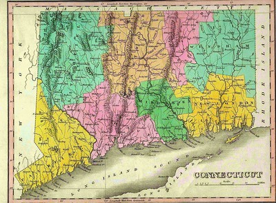 Image of an historical map of Connecticut
