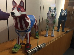 Club Track and Field's painted husky statue.
