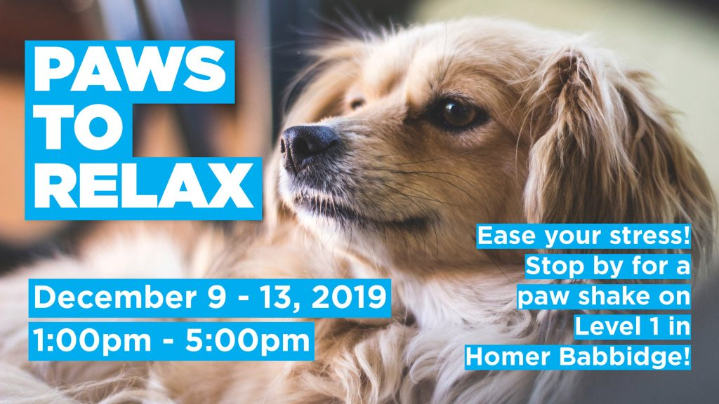 Paws to Relax Image for the schedule - December 9-13, 2019