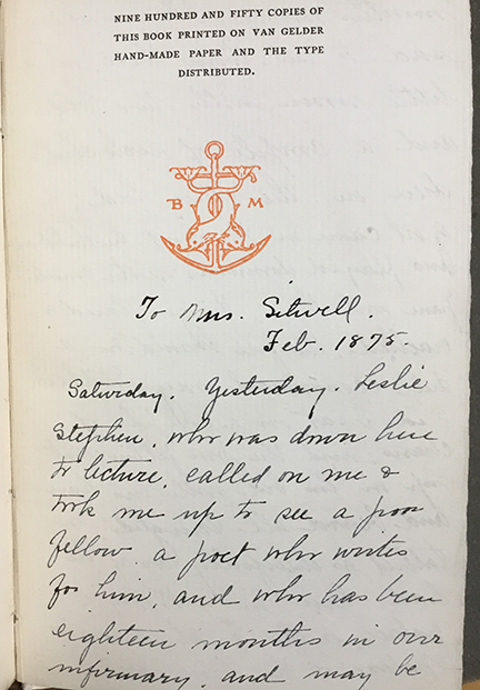 Inscription in UConn's copy of In Hospital