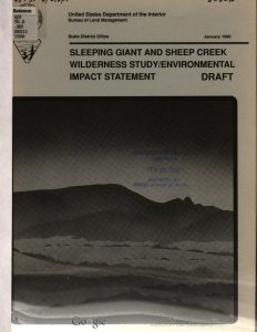Sleeping Giant and Sheep Creek wilderness study/environmental impact statement, draft. (1990) University of California. Retrieved from the Digital Public Library of America.