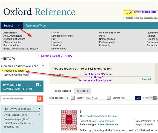 Oxford Reference Online Interface